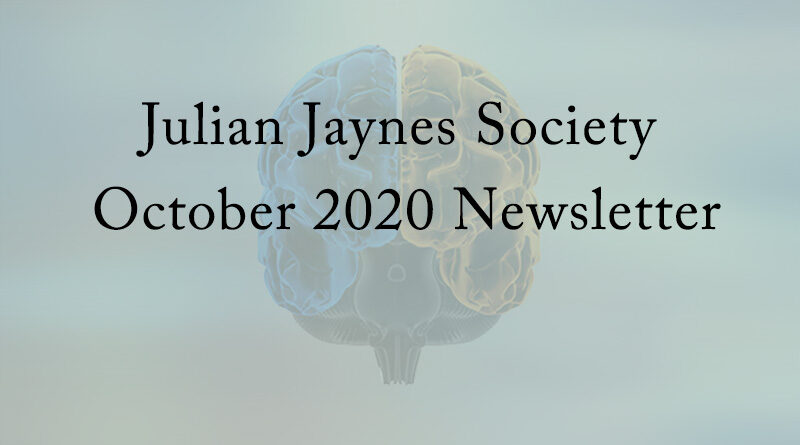 Julian Jaynes Society October 2020 Newsletter