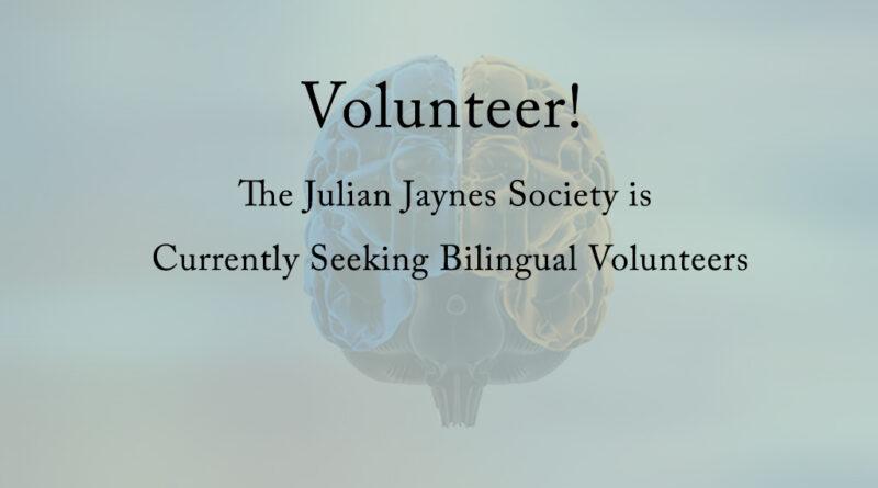 Volunteer at the Julian Jaynes Society